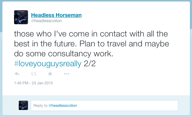 The Headless Horseman hints at his future plans