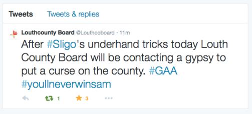 Tweet calling for gypsy curse on Sligo