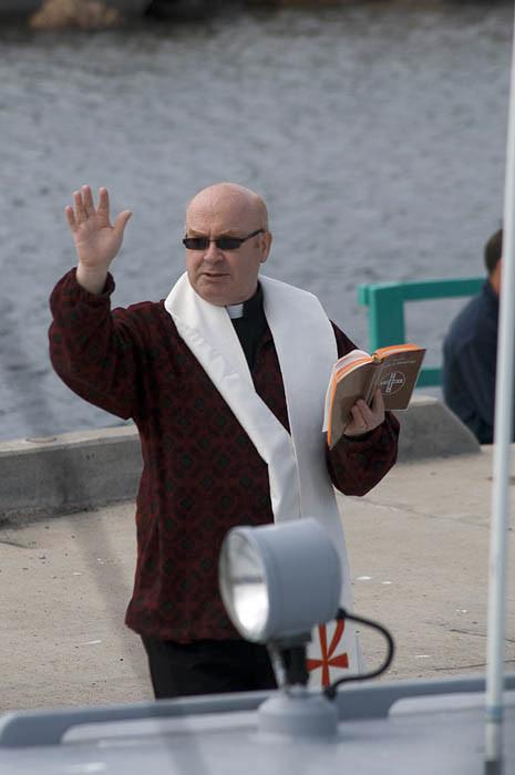 Fr. Heffner blesses the fleet at Balbriggan